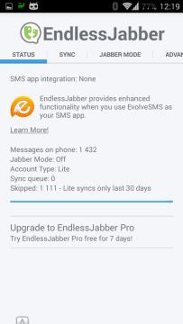 Nastavení aplikace EndlessJabber - sekce Status