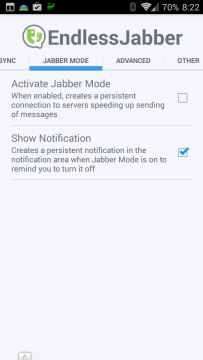 Nastavení aplikace EndlessJabber - sekce Jabber Mode
