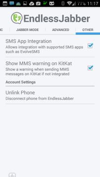 Nastavení aplikace EndlessJabber – sekce Other