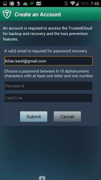 TrustGo Antivirus & Mobile Security: registrace nového uživatele