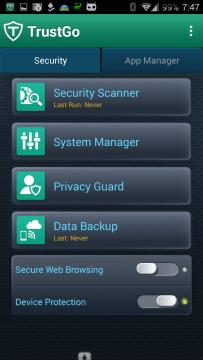 TrustGo Antivirus & Mobile Security: uživatelské rozhraní aplikace