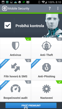 ESET Mobile Security & Antivirus: uživatelské prostředí