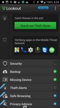 Antivirus & Security | Lookout: uživatelské prostředí