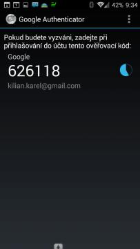 Pak v aplikaci Google Authenticator získáte kód