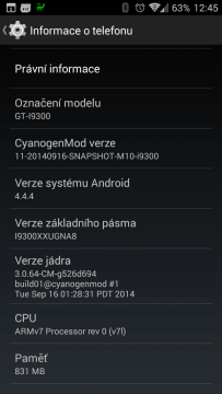 Včerejší aktualizace redakčního Samsungu Galaxy SIII na CyanogenMod 11.0 M10