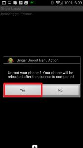 Odstranění rootu s aplikací Ginger Unroot