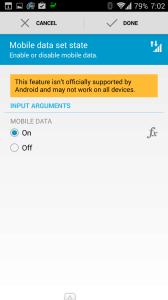 Akce: povolení mobilních dat