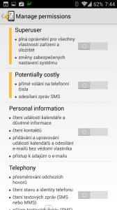 Správa oprávnění aplikace