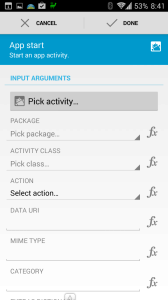 Nastavení parametrů Start app