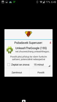 UnleashTheGoogle vyžaduje práva roota