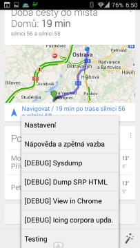 Kontextová nabídka aplikace Google Now