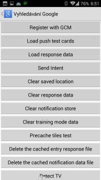 Sekce Testing zapnutá aplikací UnleashTheGoogle