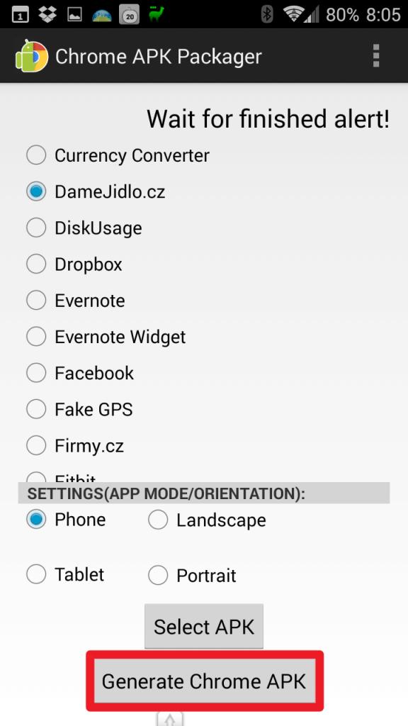 Klepněte na tlačítko Generate Chrome APK