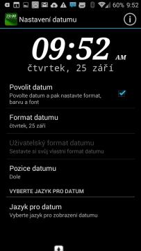 Možnosti nastavení widgetu Widgety DIGI Clock Widget