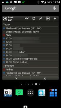 Widget aplikace Business Calendar