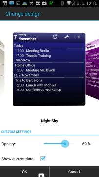 Možnosti nastavení widgetu aplikace Business Calendar