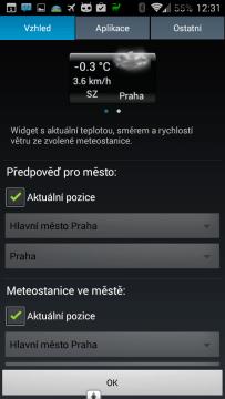 Nastavení widgetu In-počasí