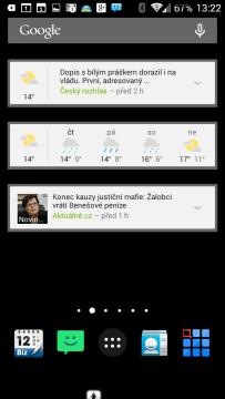 Widgety Zprávy a počasí Google