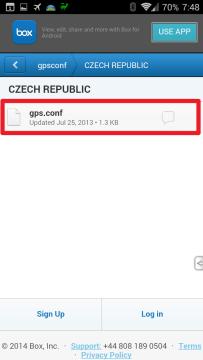 Vyberte složku se svou zemí a stáhněte soubor gps.conf