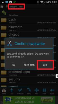 Zkopírujte či přesuňte stažený soubor do složky system/etc