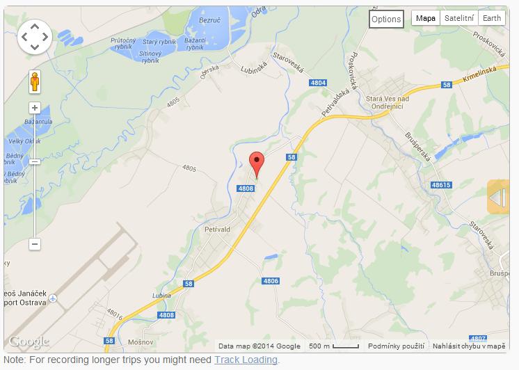 Zobrazení polohy sledovaného v mapě