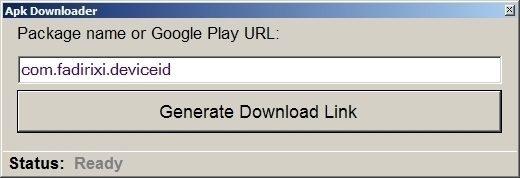K dispozici je okno s textovým polem a tlačítko Generate Download Link
