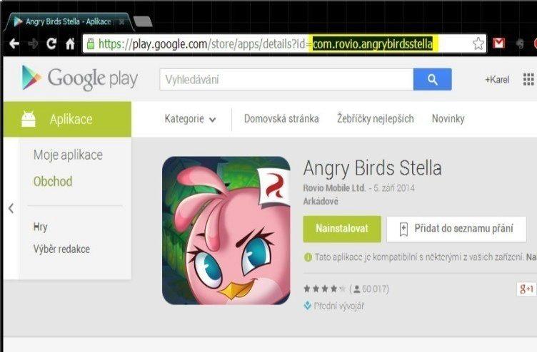 V Obchodě Play jsme tedy vyhledali hru Angry Birds Stella