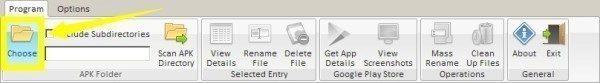 Složku s APK soubory vyberete přes tlačítko Choose