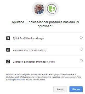 Schválení oprávnění k účtu Google