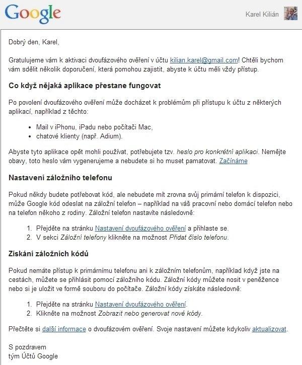 E-mail s dalšími instrukcemi