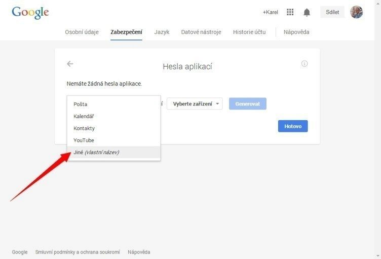 V nabídce Vyberte aplikaci zvolte Jiné a zadejte například Android