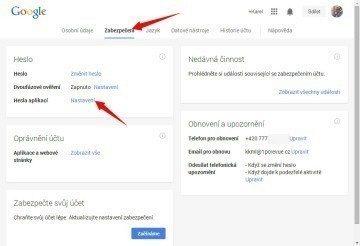 Sekce Zabezpečení – Heslo