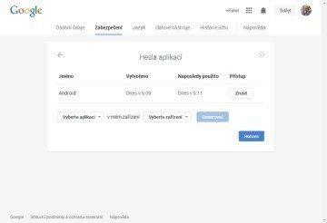 Hesla aplikací – Nastavení