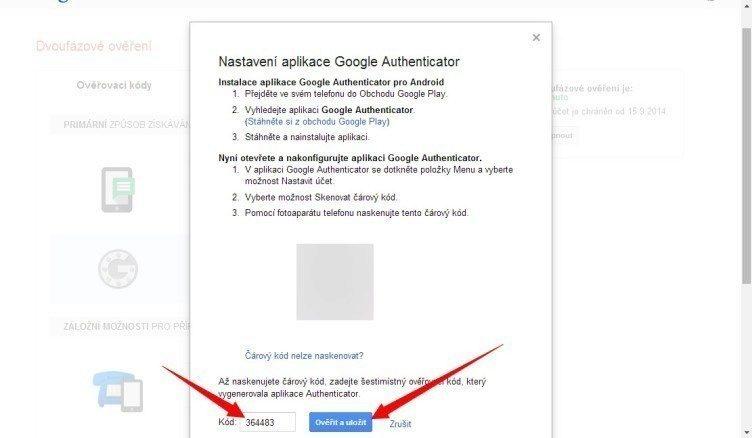 Nastavení aplikace Google Authenticator