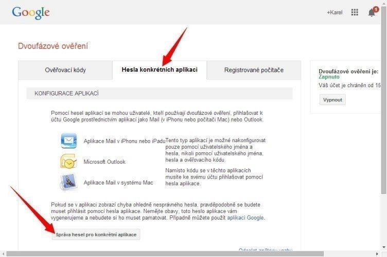 Přejděte na záložku Hesla konkrétních aplikací, kde klepnete na tlačítko Správa hesel pro konkrétní aplikace