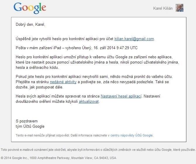 Informační e-mail o nastavení hesla