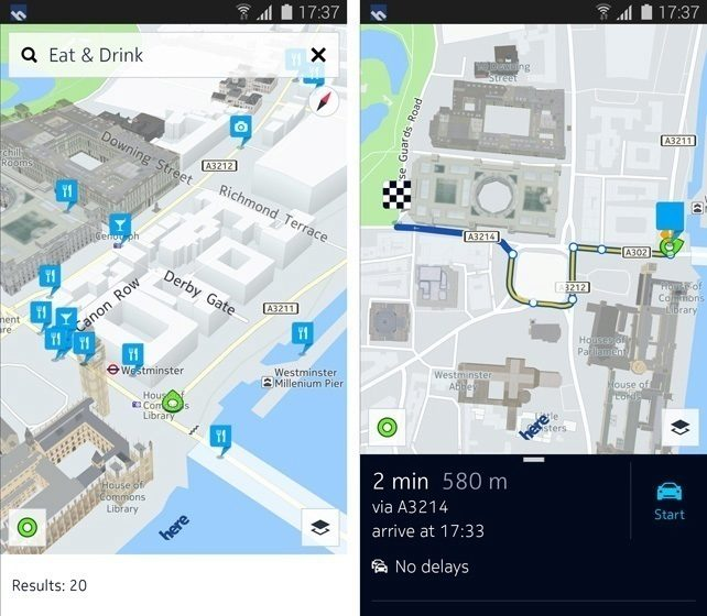 Mapy a navigace Nokia Here