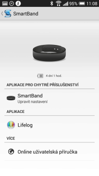 Sony SmartBand recenze - SmartBand app