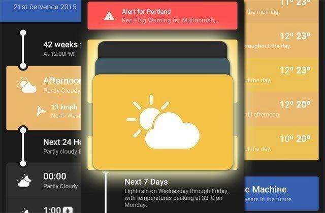 Weather Timeline: počasí v moderním designu Material se strojem času