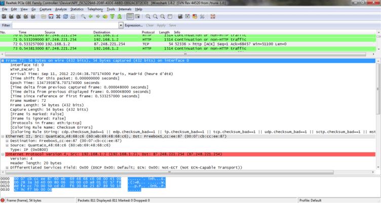 Šetření bylo prováděno s volně dostupným nástrojem pro analýzu síťového provozu Wireshark