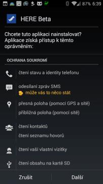 Oprávnění aplikace Nokia HERE