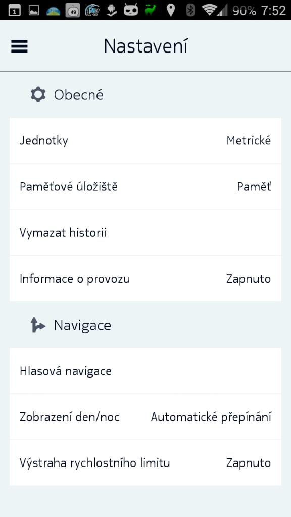 Možnosti nastavení Nokia HERE