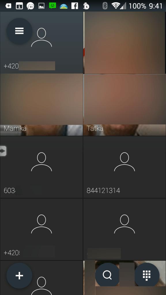 Hlavní obrazovka aplikace Ready Contact List