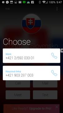 Výběr telefonního čísla