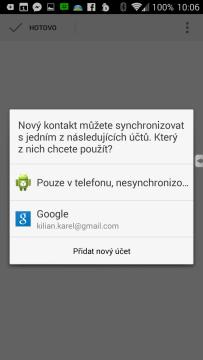 K přidání nového kontaktu do adresáře je volána aplikace Lidé
