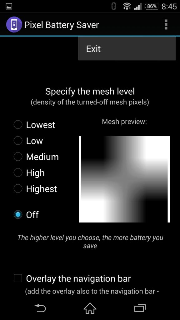 Uživatelské prostředí aplikace Pixel Battery Saver