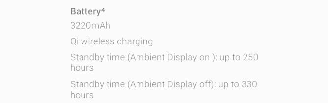 ambient display baterie
