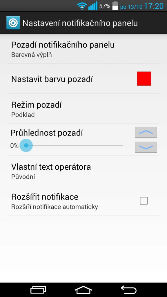 gravity box notifikační panel 1