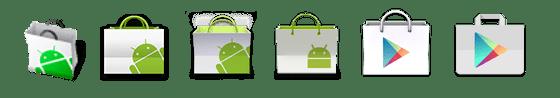 Vývoj vzhledu ikony Obchodu Play (původně Android Market)