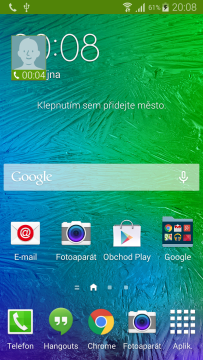 Samsung Galaxy Alpha widget volání